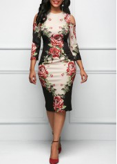 Three Quarter Sleeve Cold Shoulder Flower Print Dress