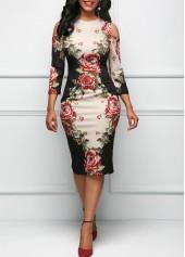 wholesale Three Quarter Sleeve Cold Shoulder Flower Print Dress