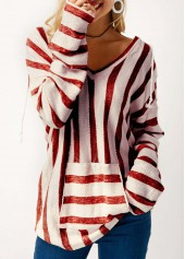 Pocket Long Sleeve Hooded Collar Striped T Shirt