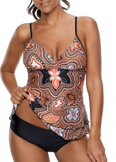 Printed Spaghetti Strap Layered Tankini Set