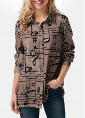 Printed Button Up Long Sleeve Turndown Collar Shirt