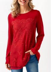 Red Long Sleeve Mesh Panel Blouse