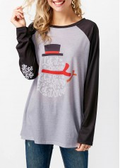 Printed Round Neck Raglan Sleeve T Shirt