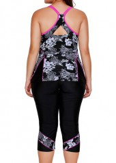 wholesale Black Racerback Printed Top and Swimwear Cropped Pants