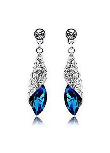 Silver Metal Blue Rhinestone Decorated Earrings