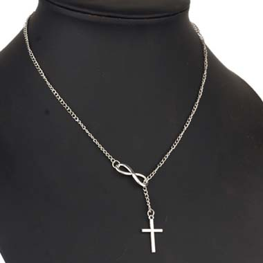 Silver Metal Cross Pendant Infinity Shape Necklace