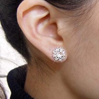Sunflower Pattern Rhinstone Ear Stud for Woman