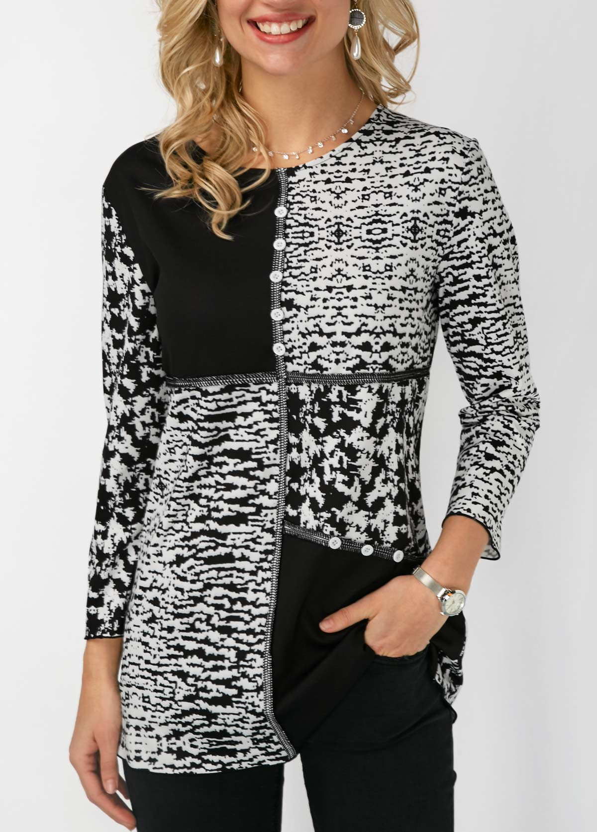 Printed Button Detail Round Neck Blouse | Rosewe.com - USD ...