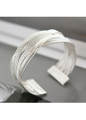 Silver Metal Rattan Knitted Twisted Wide Bracelet