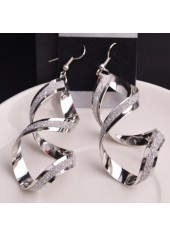 Twisted Silver Metal Earrings for Woman