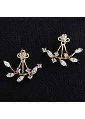 wholesale Leaves Shape Artificial Crystal Decorated Gold Earrings