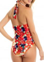 wholesale Padded Halter Neck Printed One Piece Swimwear