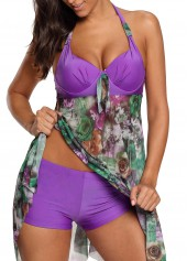 Halter Flower Print Asymmetric Hem Swimdress and Shorts