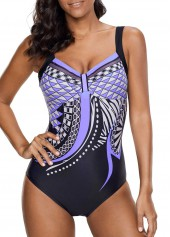 Scoop Back Printed One Piece Swimwear