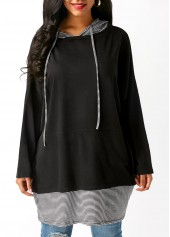 Striped Drawstring Long Sleeve Black Hoodie