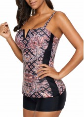 wholesale Padded Open Back Printed Tankini Top and Shorts