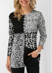 Printed Button Detail Round Neck Blouse