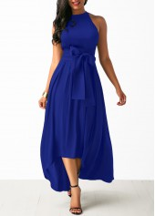 Belted Asymmetric Hem Maxi Dress and Cardigan
