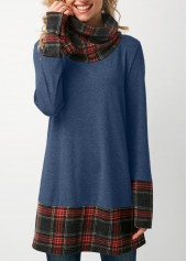 Patchwork Plaid Long Sleeve Cowl Neck T Shirt