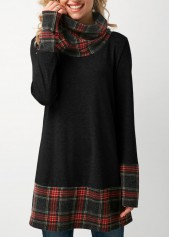 Cowl Neck Patchwork Plaid Dark Grey T Shirt