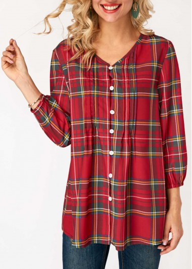 Women'S Red Plaid Print Blouson Sleeve Holiday Blouse  Button Up V Neck Three Quarter Sleeve Tunic Casual Top By Rosewe - L