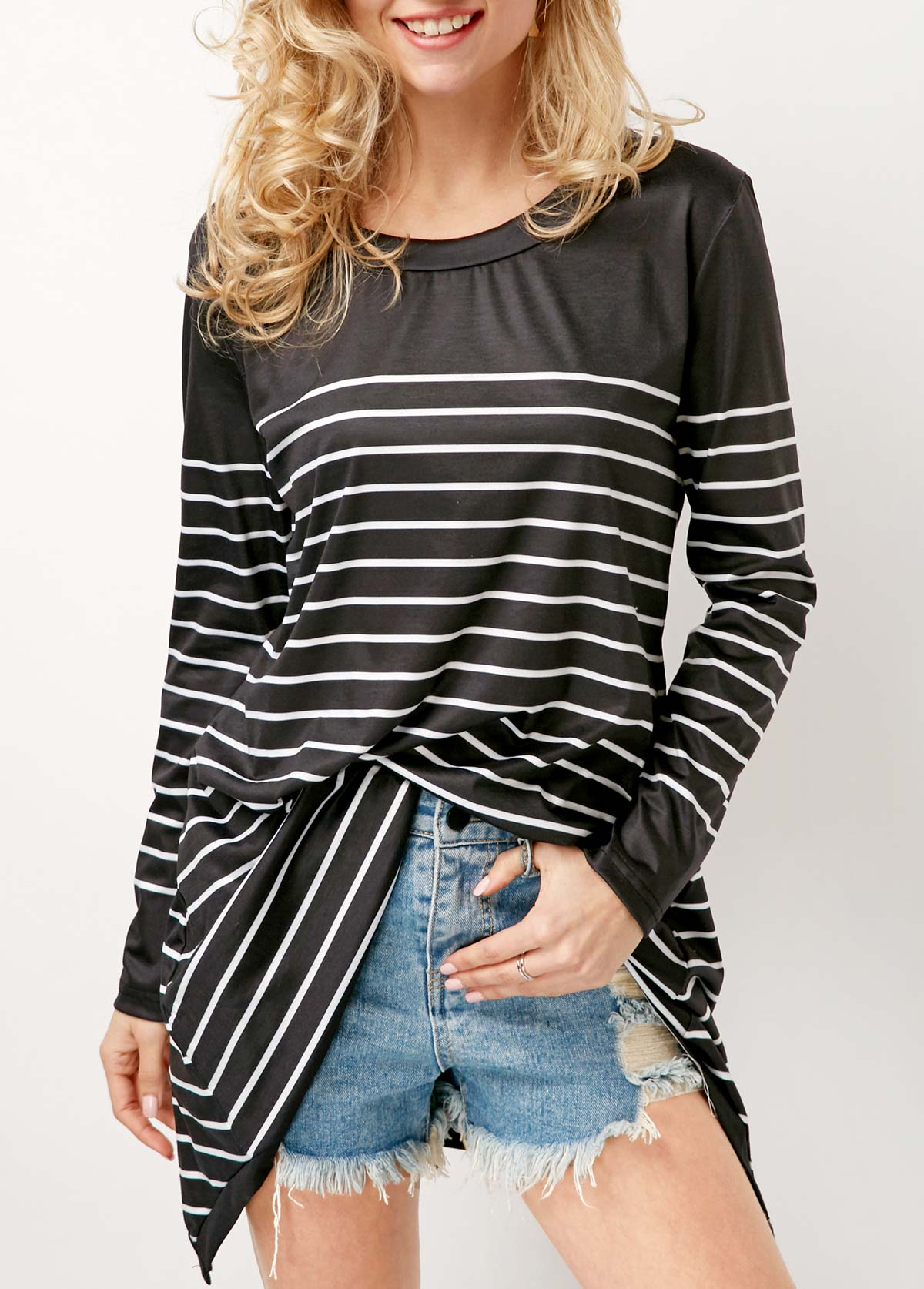 Black Long Sleeve Round Neck Striped T Shirt