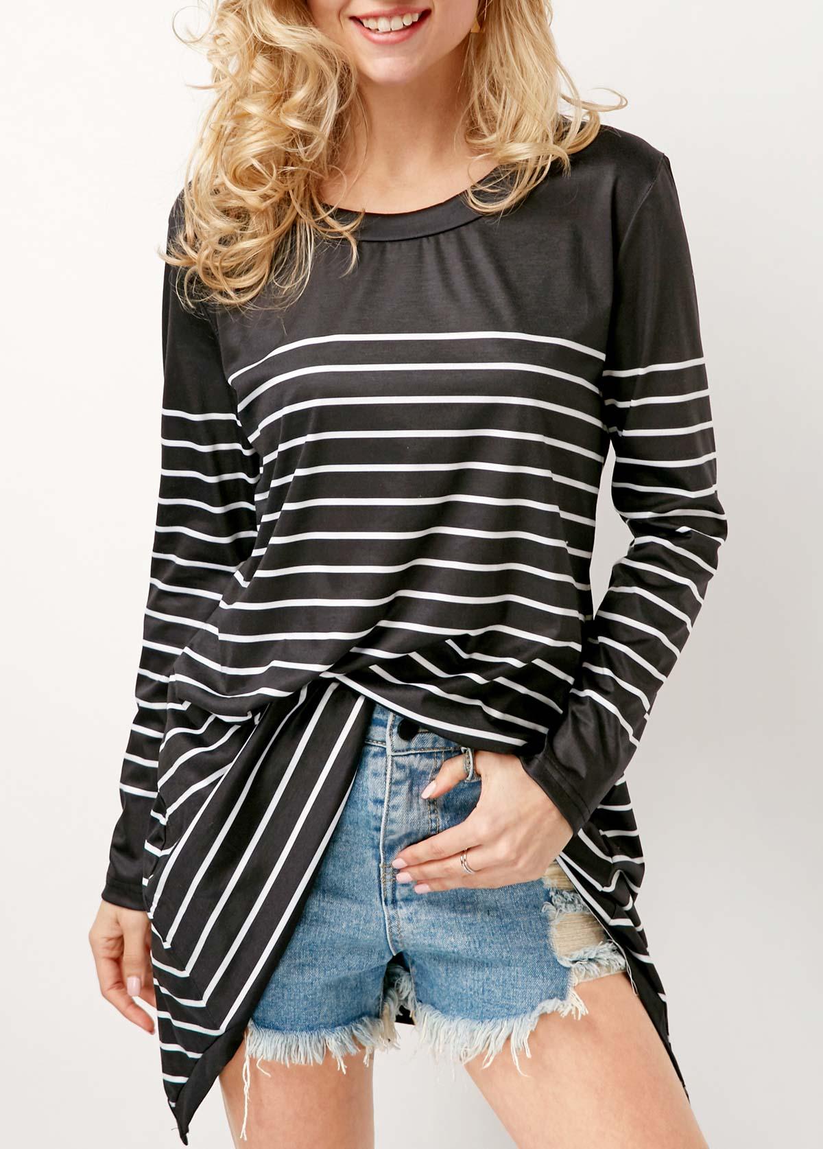 Black Long Sleeve Round Neck Striped T Shirt
