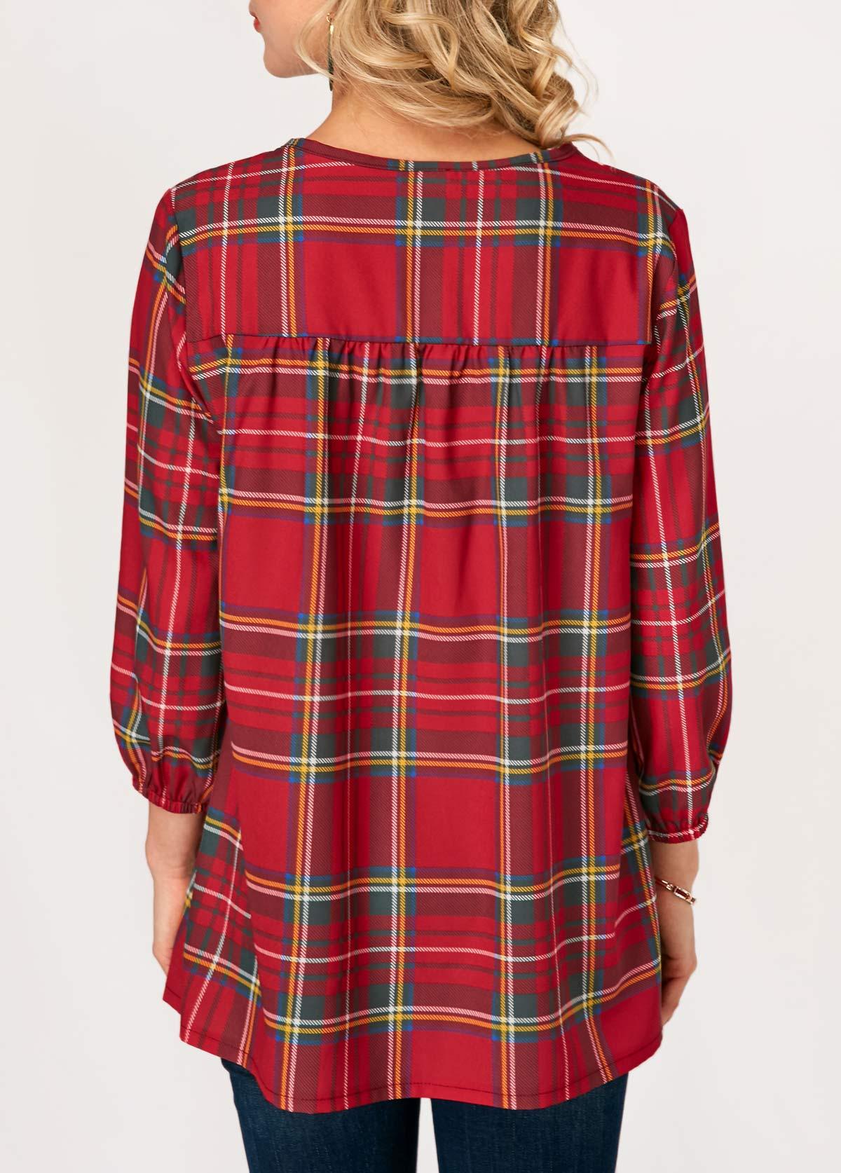 Button Up Blouson Sleeve V Neck Blouse
