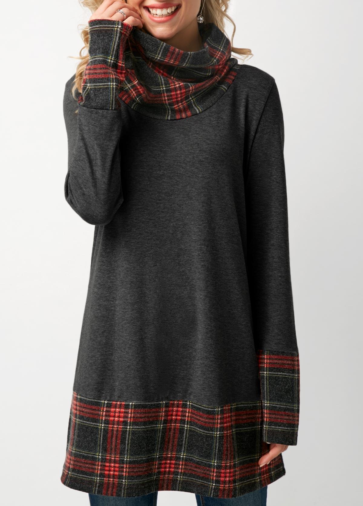 Cowl Neck Patchwork Plaid Dark Grey T Shirt