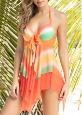 Printed Asymmetric Hem Halter Swimdress and Panty