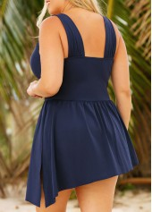wholesale Plus Ruched Wide Strap Side Slit One Piece Swimdress