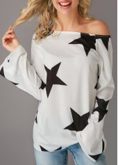 Long Sleeve Star Print Skew Neck T Shirt