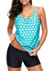 Polka Dot Print Scoop Neck Tankini Set