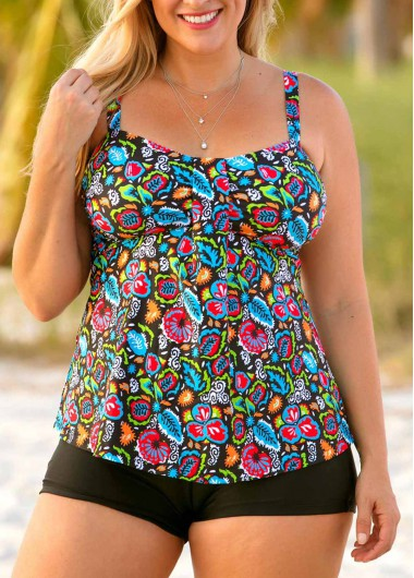 Plus Size Open Back Printed Tankini Set