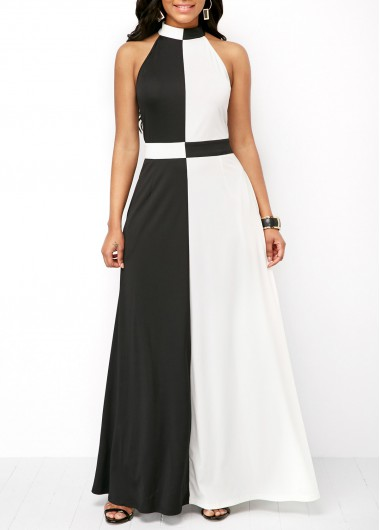 Mock Neck Color Block Zipper Back Maxi Dress