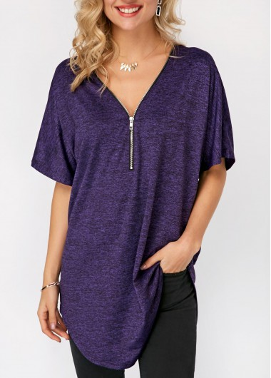 Purple Curved Zipper Front Short Sleeve T Shirt