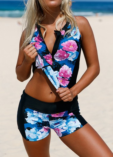 Flower Print Zipper Front Swimwear Top and Shorts