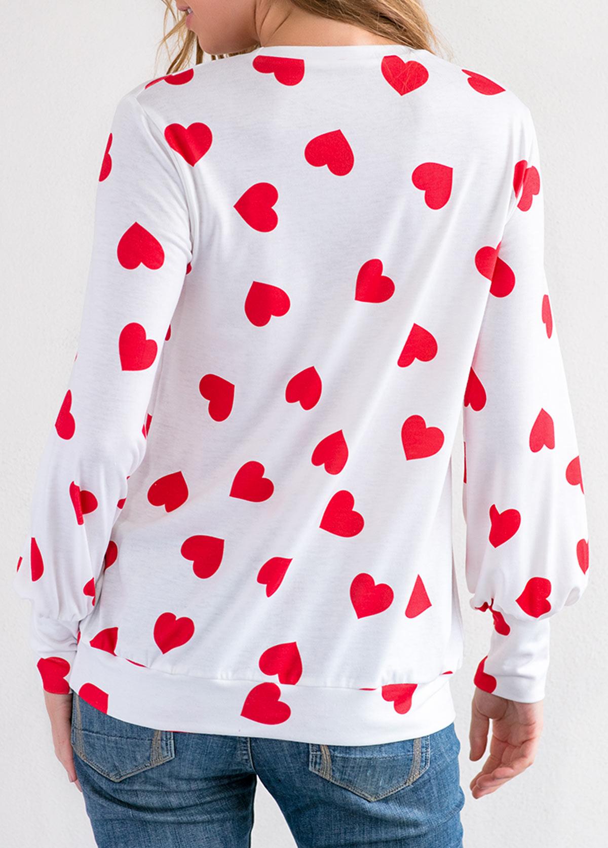 Blouson Sleeve Round Neck Heart Print T Shirt