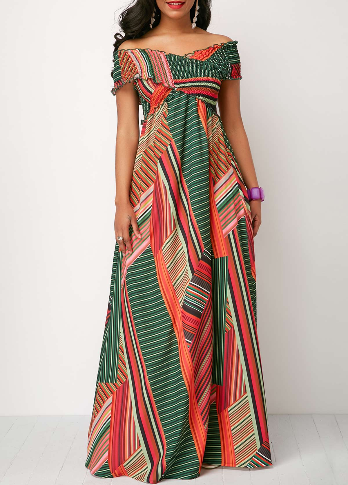 6fb5c252cf98a Off the Shoulder Shirred Detail Printed Maxi Dress. AddThis Sharing Buttons