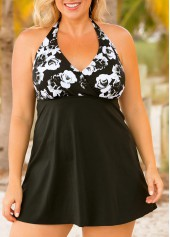 Plus Size Flower Print Halter Empire Swimdress and Panty