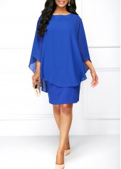 Round Neck Royal Blue Overlay Dress