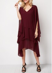 Wine Red Layered Two Piece Chiffon Dress