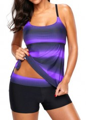 Printed Strappy Back Side Slit Purple Tankini Set