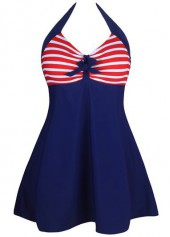 Halter Neck Striped Navy Blue Swimdress