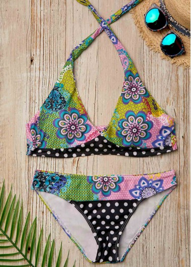 Halter Neck Tie Back Printed Bikini Set