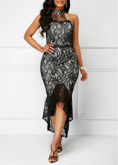 Sleeveless Frill Hem Lace Sheath Dress