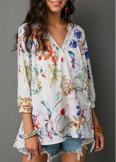 Women'S White Floral Printed Three Quarter Sleeve Tunic Blouse Split Neck Casual Spring Top By Rosewe - M