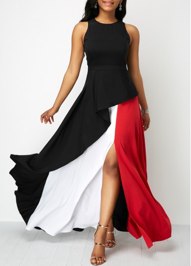 Round Neck Front Slit Sleeveless Maxi Dress
