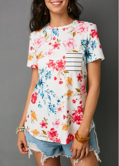 Chest Pocket Floral Print White T Shirt