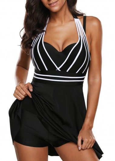 Halter Neck Cutout Back Black One Piece Swimdress